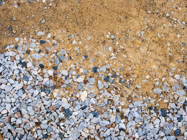Vue rapprochée vue de dessus du gravier écrasé au sol