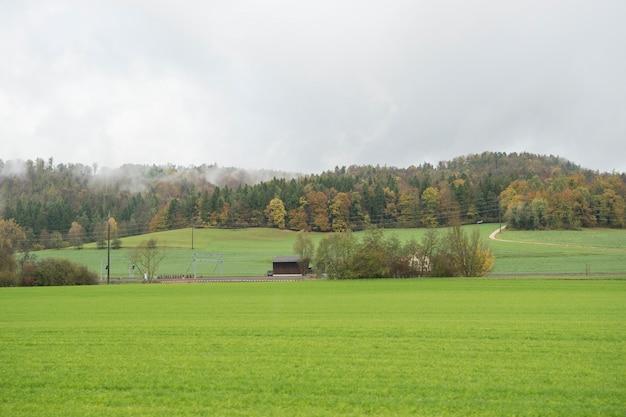 Vue rurale et montagne en suisse