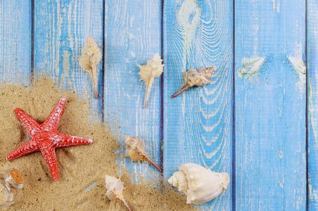 Vue sur le sable de la plage avec des coquillages et des vacances d'été d'étoile de mer