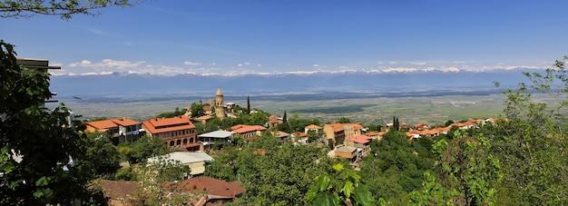 La vue de signagi et de la vallée d'alazani en géorgie