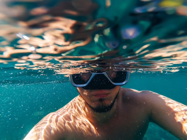 Vue sous-marine du plongeur