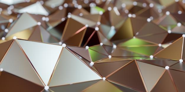 Vue d'une structure de connexion abstraite avec points et lignes de liaison, rendu 3d