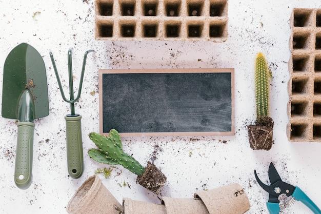 Vue surélevée de la pelle; râteau; sécateur; plateau de tourbe de plante de cactus; pot et ardoise vierge sur fond blanc désordonné