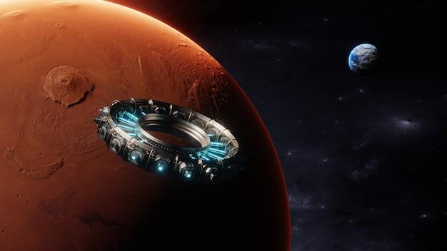 Vue de la terre et d'un navire s'approchant de mars