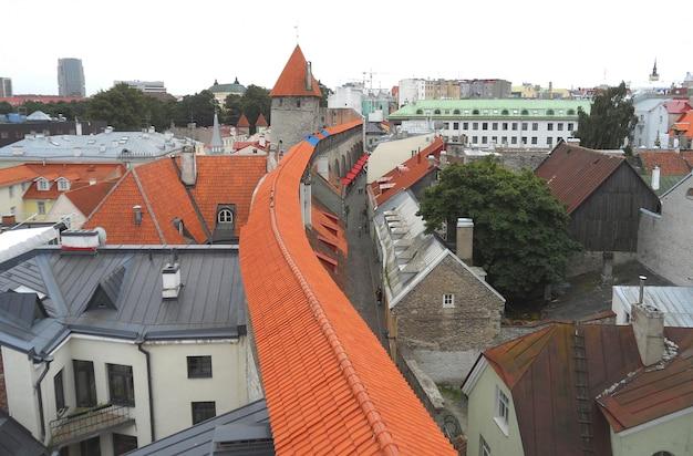Vue sur les toits vus du mur de la vieille ville de tallinn, estonie