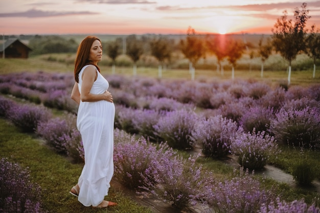 Vue de toute la hauteur d'une femme heureuse attendant un nouveau-né, debout sur le terrain avec de la lavande violette et rêvant au coucher du soleil