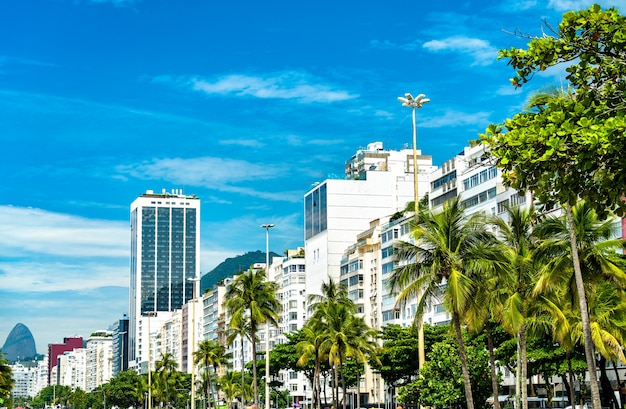 Vue tropicale de copacabana seaside à rio de janeiro