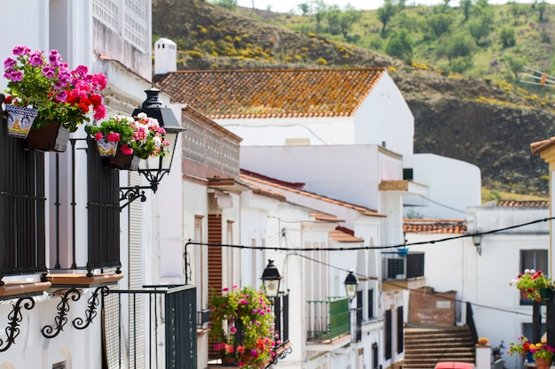 Vue urbaine des maisons blanches typiques aux toits rouges situées à sanlucar, en espagne.
