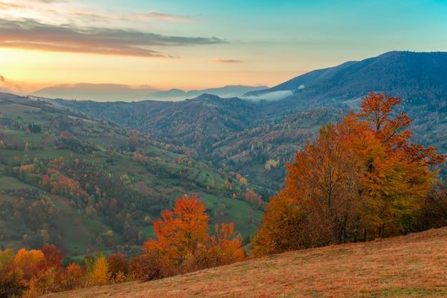 Vue sur la vallée de montagne pittoresque avec ciel bleu