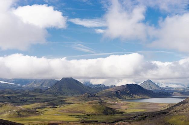 Vue sur la vallée de la montagne avec ses collines verdoyantes, son ruisseau et son lac. sentier de randonnée laugavegur, islande.