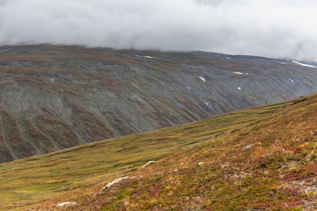 Vue sur la vallée. le nord de la suède, le parc national de sarek par temps orageux