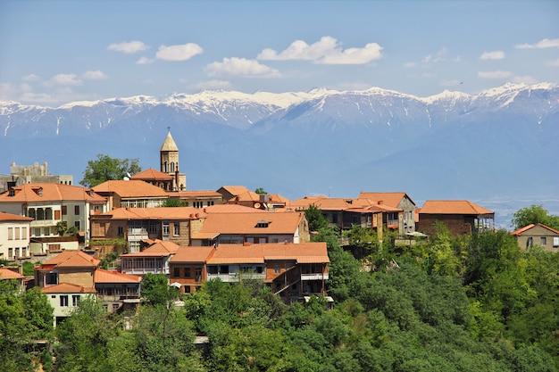 La vue sur la vallée de signagi et alazani, géorgie