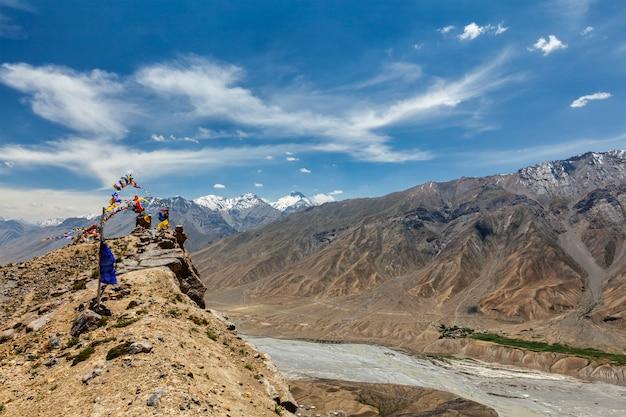 Vue de la vallée de spiti dans l'himalaya