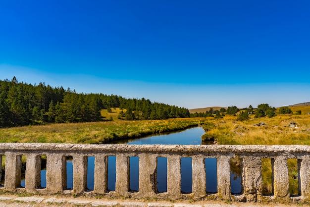 Vue sur le vieux pont de pierre sur la rivière crni rzav à la montagne zlatibor, serbie