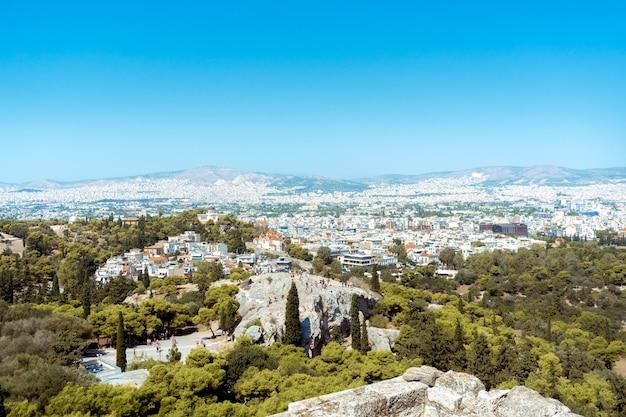 Vue de la ville d'athènes dans l'après-midi