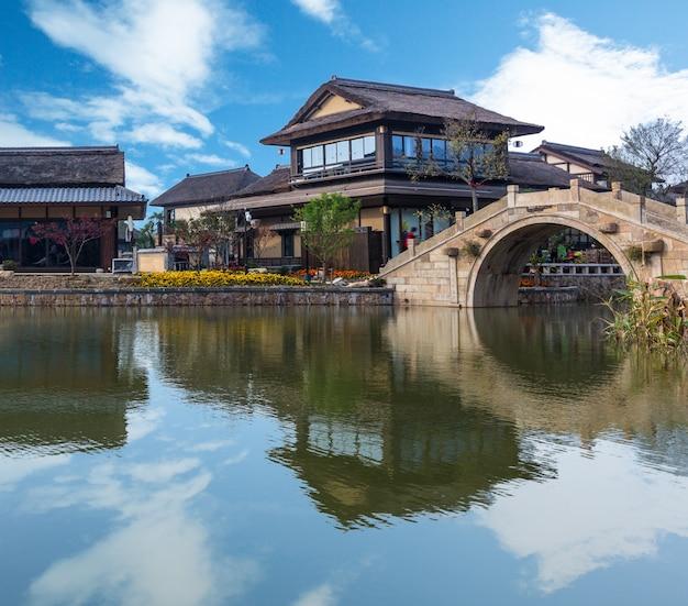 Vue de la ville d'eau de gubei
