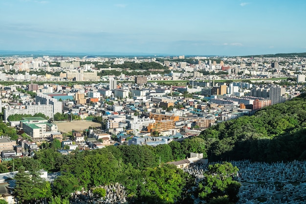 Vue de la ville de sapporo depuis le mont moiwa, hokkaido, japon.