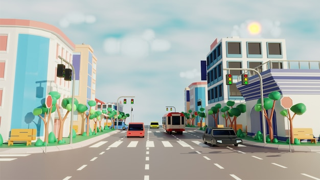 Vue sur la ville avec véhicule roulant le long de la route, bâtiments modernes sur scène ensoleillée.