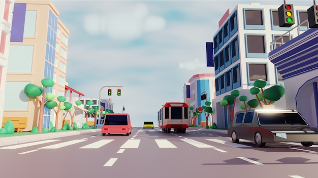 Vue sur la ville avec un véhicule roulant le long de la route et des bâtiments modernes.