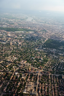 Vue à vol d'oiseau du développement urbain de budapest