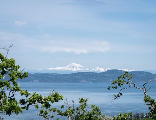 Vue sur le volcan du mont baker encadrée de feuillage
