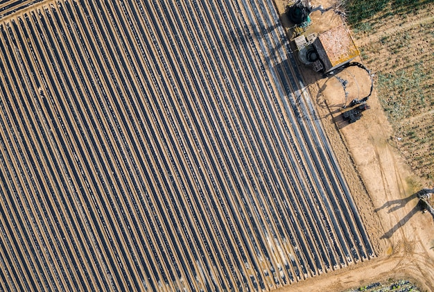 Vues aériennes de plusieurs champs de cultures
