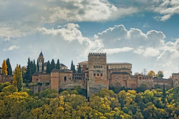 Vues de l'alhambra à grenade depuis le quartier d'albaicín