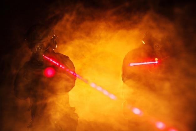 Vues laser dans la fumée
