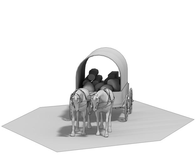 Wagon colons cheval wagon rendu 3d illustration 3d