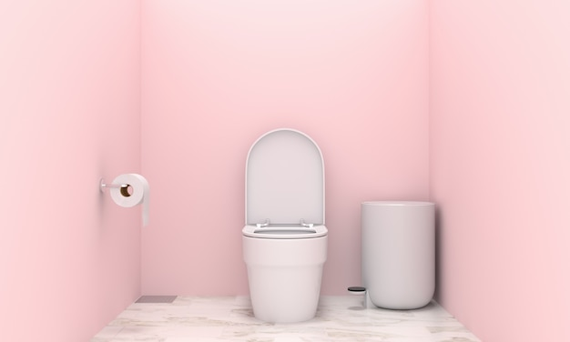 Wc à l'intérieur des toilettes roses