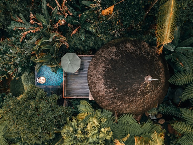 Week-end de vacances relaxant dans le luxe avec la villa tropicale dans la jungle, piscine luxueuse à bali, indonésie