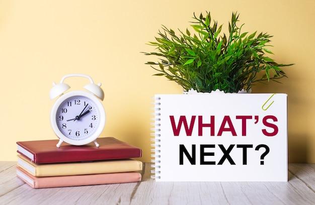 What is next est écrit dans un cahier à côté d'une plante verte et d'un réveil blanc, qui se dresse sur des agendas colorés.