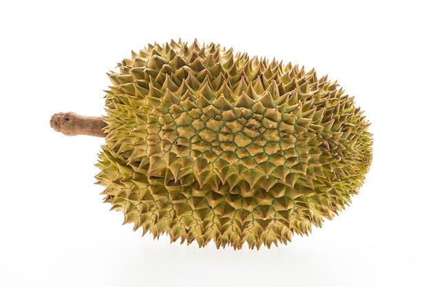 Whole durian sur fond blanc