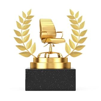 Winner award cube gold laurel wreath podium, scène ou piédestal avec chaise de bureau golden boss sur fond blanc. rendu 3d