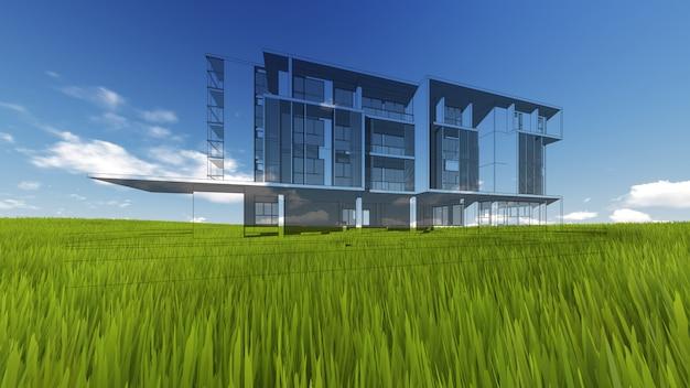 Wireframe building sur l'herbe verte et le ciel bleu. rendu de qualité extrêmement détaillé.