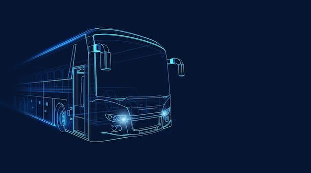 Wireframe of grand tour bus se déplaçant rapidement sur un fond bleu foncé