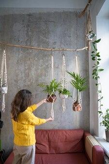 Woman holding cintre plante en macramé avec des plantes d'intérieur sur mur gris à la maison