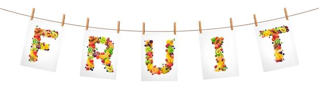 Word fruit suspendu à une corde