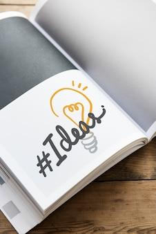 Word hastag des idées sur un livre