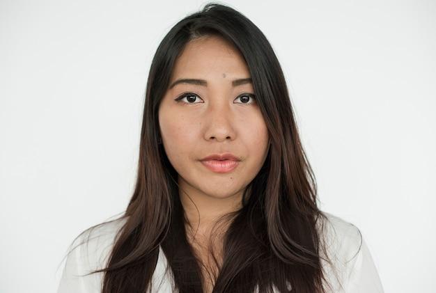 Worldface-femme asiatique sur fond blanc