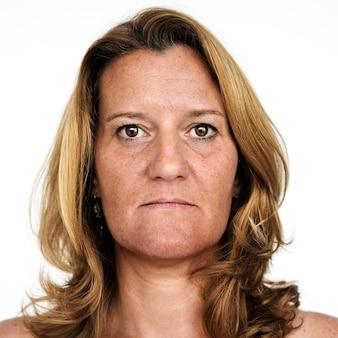 Worldface-femme française dans un fond blanc