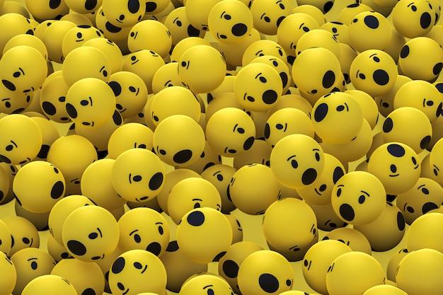 Wow facebook emoji fond de rendu 3d, symbole de ballon de médias sociaux