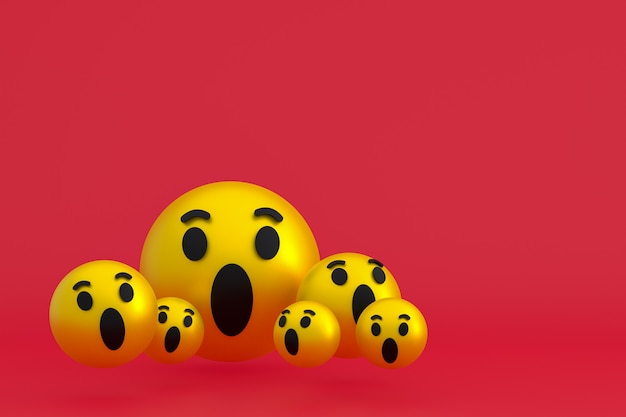 Wow Icône Réactions Facebook Emoji Rendu 3d, Symbole De Ballon De Médias Sociaux Sur Fond Rouge Photo Premium