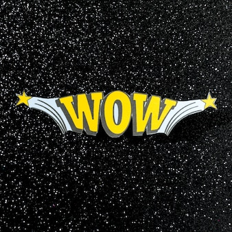 Wow jaune mot illustration pop art rétro vectoriel sur fond de cosmos