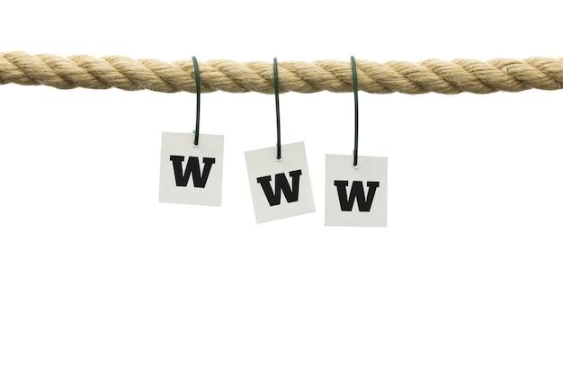 Www sign pendaison de corde effilochée épaisse sur fond blanc.