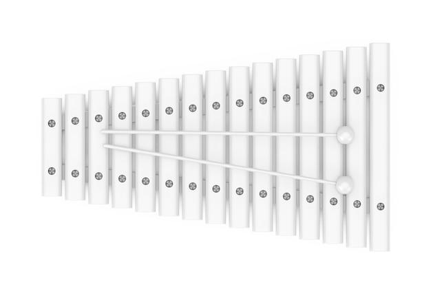 Xylophone en bois blanc avec encoche de maillets en style argile sur fond blanc. rendu 3d
