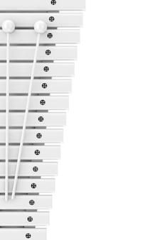 Xylophone en bois blanc avec maquette de maillets en style argile sur fond blanc. rendu 3d