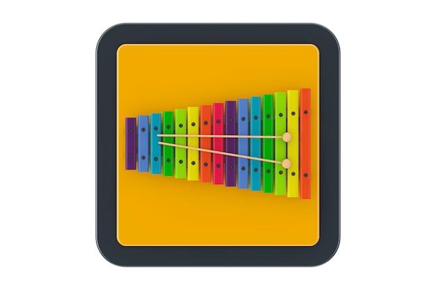Xylophone en bois coloré avec des maillets comme bouton d'icône web de point de contact sur un fond blanc. rendu 3d