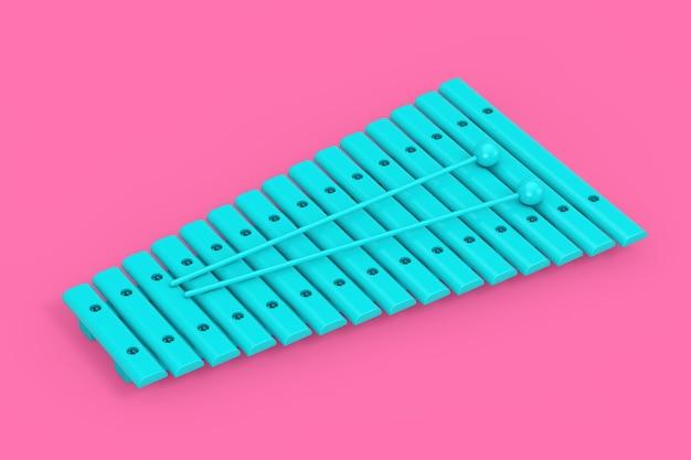 Xylophone jouet bleu avec baguettes comme style bicolore sur fond rose. rendu 3d