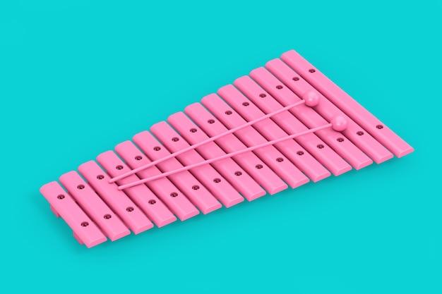 Xylophone jouet rose avec baguettes en style bichromie sur fond bleu. rendu 3d